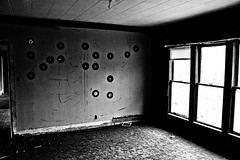 When Everything Else Is Gone - Music Remains (Storm Chaser Ted Thomason) Tags: door old autumn windows urban bw sun white black cold building rot art fall texture abandoned oklahoma window glass rotting wall architecture danger canon buildings dark carpet outside photo scary peeling paint day afternoon open angle walk decay empty wide sunny wideangle eerie shades creepy spooky odd story dirt disaster photowalk record horror daytime concept plains chipped destroyed cracked spaces picher
