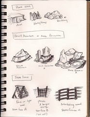 Thumbnail sketches of environment pieces for KSB4