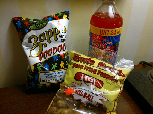 Zapp's Voodoo Chips, Bud's Deep Fried Peanuts, and Big Shot Fruit Punch