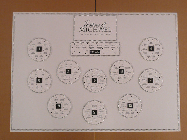 Beaded Wedding Table Plan - White and Black by Wedding Table Plans