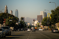 Hitting 28th (Mark Luethi) Tags: street skyline losangeles skyscrapers downtownla figueroa dtla dockweiler