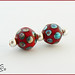 Dotty Christmas ~ Pair ~ Lampwork Glass Beads by Clare Scott SRA