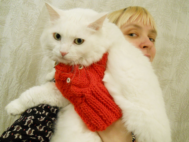 Me and Nilla - I am showing off my mittens that mypal Libby made for me.
