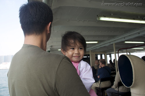 Lia and her Papa in Star Ferry going to Kowloon, HK 2010