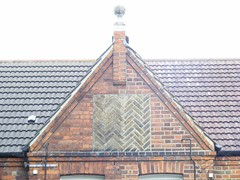 "Decorative brick gable Warner Estate E17 • <a style=""font-size:0.8em;"" href=""http://www.flickr.com/photos/28179929@N08/5232600814/"" target=""_blank"">View on Flickr</a>"