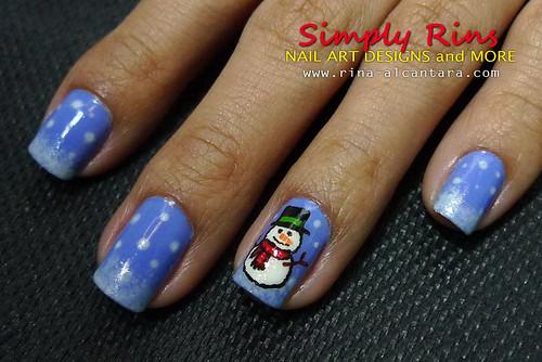 Christmas Nail Art Snowman 04
