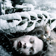 She sleeps until the snow falls... (Helen Warner (airgarten)) Tags: winter roses woman snow ice fairytale photography sleep fine arts queen helen warner wonderland finearts airgarten