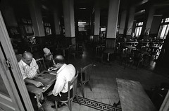 Egypt - Alexandria (luca marella) Tags: street people bw white playing black game film bar board voigtlander bessa pb bn bianco nero egitto backgammon alessandria analogic marellaluca