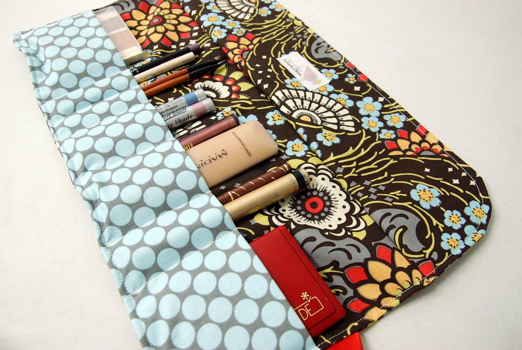 Makeup / Cosmetics Roll - Blue Flower- Cosmetics organizer holder roll