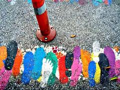 Foot prints (V and the Bats) Tags: pink blue orange white black green colors yellow purple footprints thessaloniki  humanandanimalfootprints