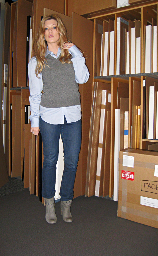 sweater vest and jeans and boots+outfit+art storage+at the gallery+strawberry blonde hair