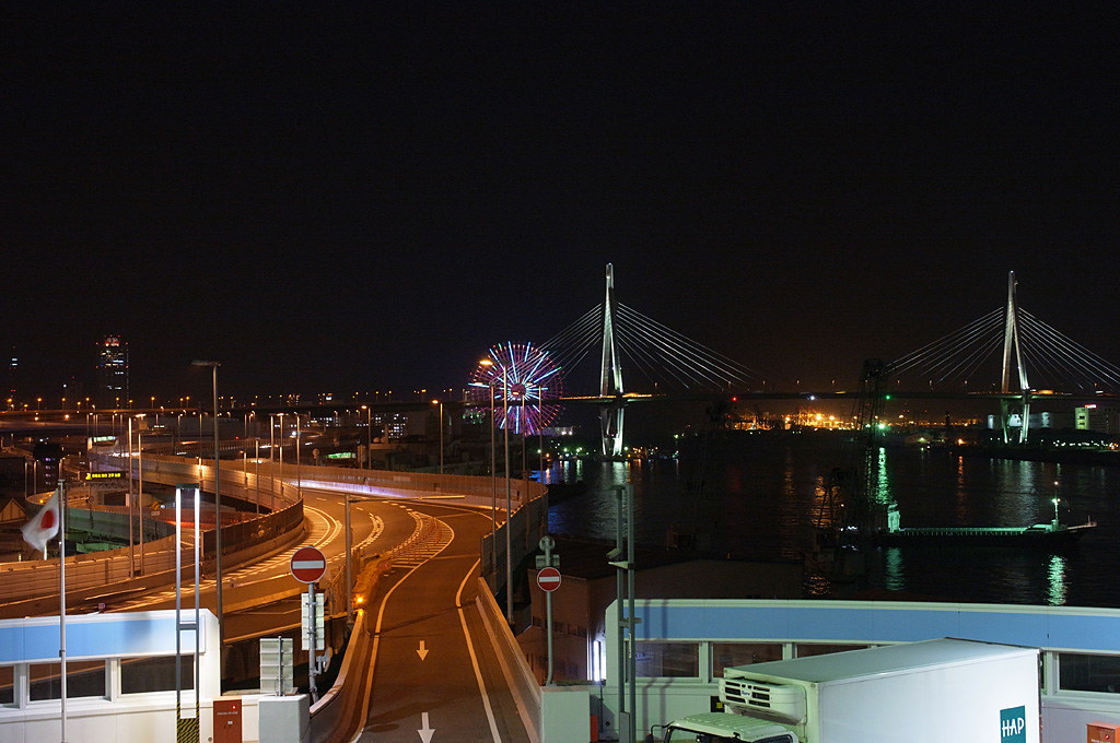 the night view of Osaka Port with Tenpouzan Bridge