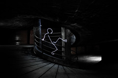 Try to sit man ! (light painting) (Mehdi LABIDI) Tags: light favorite black art grenoble dark painting nikon stickman garage nb line stickmen 18200mm d90 piouprod mehdilabidi