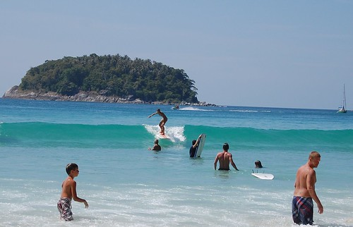 Fia surfing on christmas eve, Kata beach, Phuket