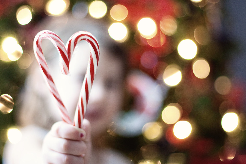 Christmas candy cane heart