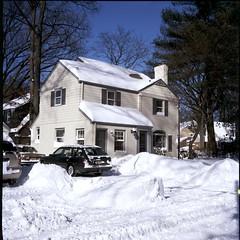 Blizzard Cleanup (jaimekop) Tags: winter snow rollei rolleiflex nj teaneck bergen blizzard 28f cr200