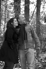 Sarah & Matt Engagement 7 BW (Lauren Barkume) Tags: trees woman snow man love loving sarah forest matt happy virginia us engagement woods couple outdoor va laugh snowing laurenbarkume