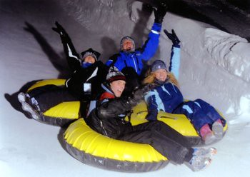 Chea, Will, Tom, and Christina Snow Tubing on Vail Mountain, December 31, 2009.
