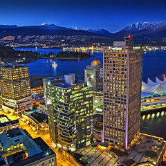 Vancouver . aerial view (ZedZap Photos) Tags: ocean city travel blue sunset red sea vacation sky holiday canada tourism beach vancouver clouds landscape boats bay bc aerialview canadian aerial bleu vancouverisland pacificnorthwest stanleypark bluehour canadaplace hdr coalharbour victoriabc nationalgeographic vancouversun vancouverlookout 2010olympics beautifulbc 200granvillestreet zedzap