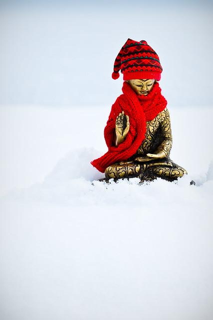 shoveling snow buddha