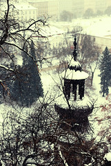 ;) (ewitsoe) Tags: old city winter snow storm cold building tree weather 50mm nikon europe frost branch view prague walk postcard praha praga steeple east czechrepublic snowing chill colder holidaytravel d80 socouldicouldntstopshaking whereismylongunderwear