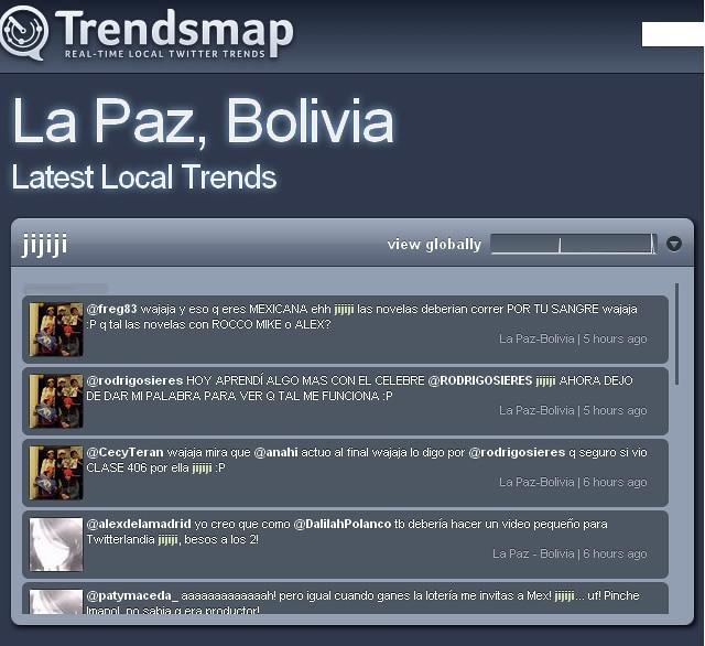 Thumb El Trending Topic de twitter para Bolivia La Paz es: jijiji