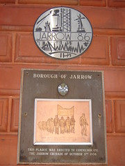 Plaque commemorating the Jarrow Crusade, Jarrow Town Hall, Jarrow (Identity in Newcastle) Tags: uk england heritage history newcastle politics pride northeast jarrow newcastleupontyne leftwing workingclass commemoration southtyneside civicpride jarrowtownhall northeastofengland labourmovement jarrowcrusade