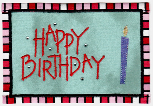 Birthday Fabric Postcard