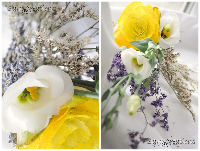 yellow brassica oleracea, white eustoma & lavender