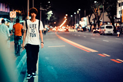 Late Night Crossing (Jon Siegel) Tags: street man night 50mm lights design nikon singapore crossing tshirt littleindia nikkor f12 singaporean nikkor50mmf12 d700