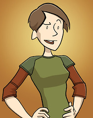 A cartoon self-portrait of Danielle Corsetto, a thin white woman with short brown hair.