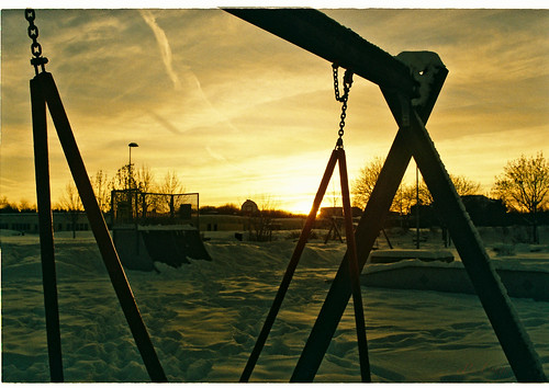 Sunset with the snow-y playground