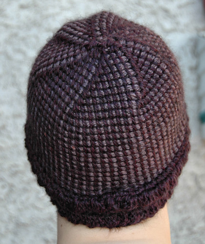Tunisian in the Round, Purple Swirl hat