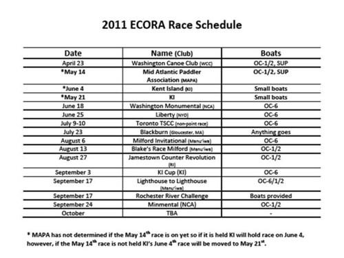 2011 Ecora Race Schedule