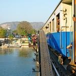 Train crossing the River Kwae Railway bridge thumbnail