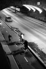 Night Riders (peterkelly) Tags: street bridge shadow bw canada car bike bicycle digital cycling arch quebec montreal canadian cycle lane northamerica biker rueberri