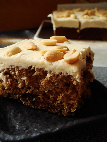 Oatmeal Reese's Peanut Butter Cup Cake with Cream Cheese Frosting