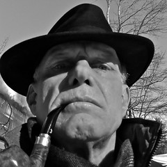 333/365 - Man Wearing a Hat II (Timothy Valentine) Tags: blackandwhite selfportrait home 0111 iphone elramon tobaccopipe iphone365