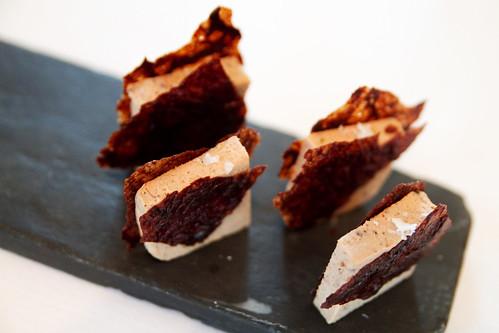 Pork liver caramelized chocolate finished w/maldon