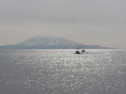 冬の利尻島