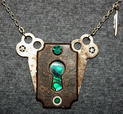 Behind Door #7 -  Original Steampunk necklace - 01