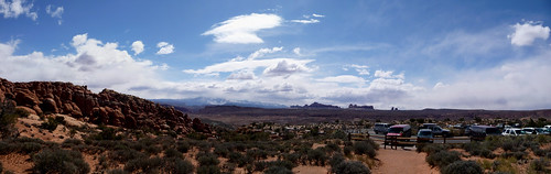 Arches National Park vista from the Fiery Furnace, Moab, Grand County, Eastern Utah, Western United States of America
