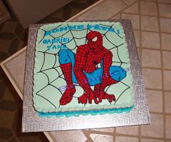 22 Janvier 2011 (bo-delice) Tags: cake dessert rouge noir spiderman 7 bleu ans blanc anniversaire criture homme toile carr gteau araign superhros bleufonc bleuple hommearaign