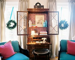 194823-7-02EKB (mscott218) Tags: christmas pink blue windows wallpaper holiday design office interiors desk designer turquoise interior kathryn curtains boyd eileen shelves interiordesign eclectic tablescape drapery lonny