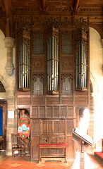 Old Radnor, Radnorshire, St. Stephen's church, organ case (groenling) Tags: oldradnor powys radnorshire sirfaesyfed wales uk ststephenschurch organ case wood carving woodcarving pipeshade beast grotesque snake serpent linenfold panel ajour openwork