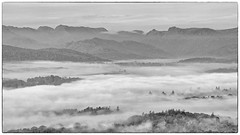Windermere Cloud Inversion (warth man) Tags: d600 nikon70300mmvr windermere englishlakedistrict westmorland mono cloudinversion misty mountains