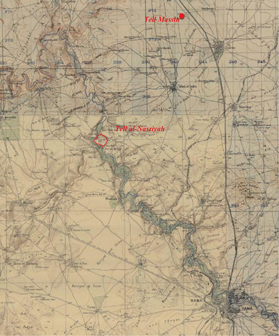 Tell al-Nasriyah et Tell Massin sur la carte du Mandat français