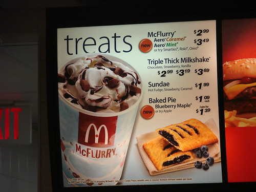 McDonalds Treats menu from Canada