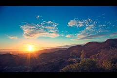 los angeles sunset (Eric 5D Mark III) Tags: california sunset sky cloud color tree canon landscape losangeles downtown cityscape view observatory flare sunburst griffith ef24105mmf4lisusm eos5dmarkii