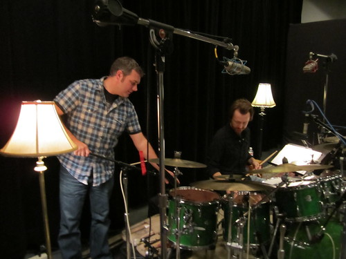 Geoff and John tuning up the kit.